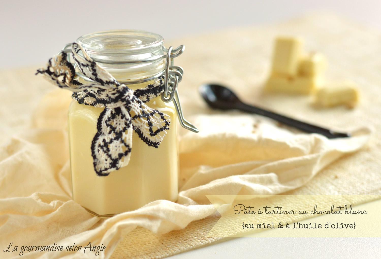 Pâte à tartiner au chocolat blanc parfumée au miel et à l'huile d'olive