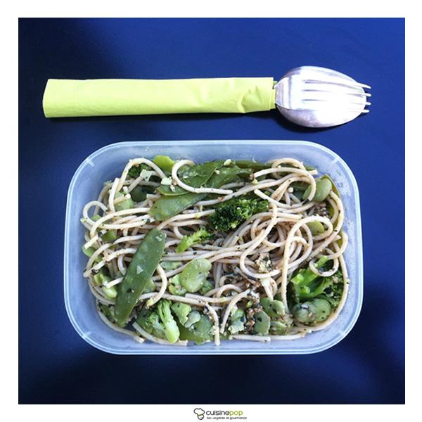 Popote de spaghettis aux légumes verts