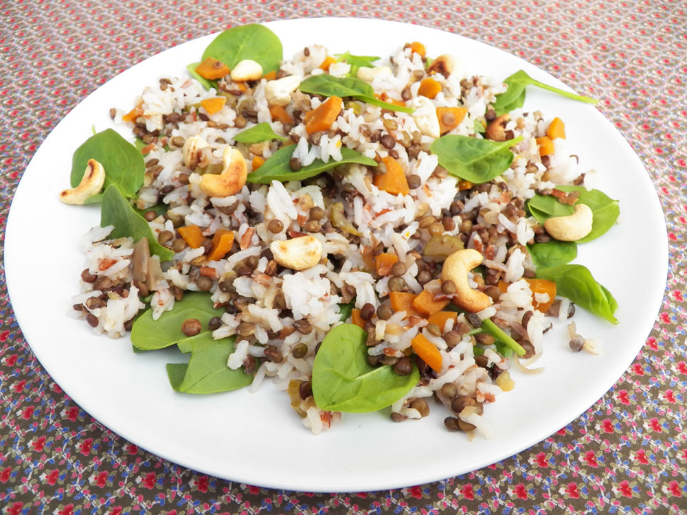 Salade de riz, lentilles, épinards, noix de cajou