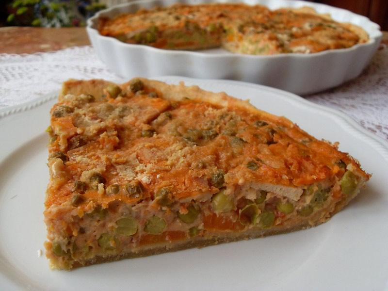 recette de Tarte végétalienne aux petits pois et au tofu simple à cuisiner